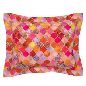 Moroccan Tiles Hot Pink Watercolor Patchwork Ogee Pillow Sham by Roostery