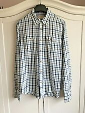 Nudie Jeans Mens Shirt Gunnar Check Plaid  Organic Soft Cotton Blue Grey Sz S