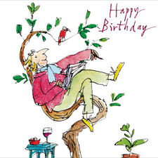 Just Resting in Tree Male with Book Wine Birthday Greeting Card By Quentin Blake