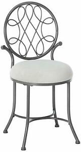 Vanity Stool Chair Celtic Inspired Design Knot Motif Grey Metallic Dressing Room
