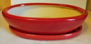 """Lovely Bonsai Pot & Saucer 15"""" long NEW, Red"""