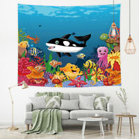 Underwater Tapestry Wall Hanging Cartoon Whale Octopus Turtle Wall Art Decor