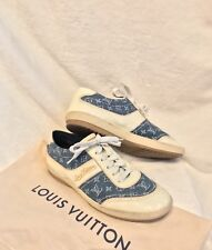 Women's Louis Vuitton Monogram Blue Denim Cream Patent Shoes Sneakers 39, 8.5, 9