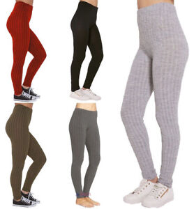 New Women Warm Thick Chunky Cable Ladies Ribbed Knitted Leggings Plus Size 8-14