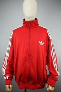 Adidas Originals style 90's White striped Mens Red Tracksuit Top Jacket Size 2XL