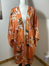 M&S Curve Beach Cover Up Size 20 Orange Kimono Style Sleeve Floral Summer