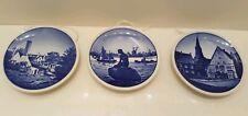 Vintage Lot 3 Denmark Miniature Blue Plates Gudhjem, Langeline, Tonder Kirke