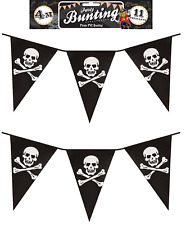 8M- 27ft (2x4M) PIRATE JOLLY ROGER SKULL & CROSSBONES FLAG PARTY PENNANT BUNTING