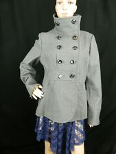 Kenneth Cole New York Women's Gray Wool Coat Size 14 With Large Turtle Neck