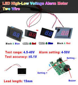 Digital LED Voltmeter  DC 4.5V-40V High-Low Voltage Alarm Tester 5v 12v 24v Car