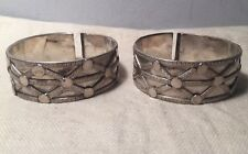 Pair Antique Ethnic Tribal Ornate Solid Sterling Silver Bangle Bracelets