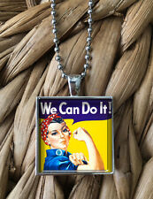 Rosie the Riveter We Can Do It Feminism Pendant Silver Chain Necklace NEW