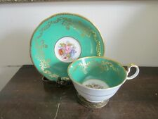 Aynsley England Tea Cup And Saucer Roses Gold  Green Signed J A Bailey