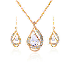 Wedding Women Fashion Vintage Jewelry Set Rhinestone Necklace Crystal Earrings