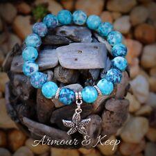 """ANIKA"" Rain Flower Ocean Blue Colour StarFish Charm Bracelet Handmade"