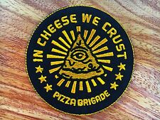 Pizza brigade Embroidered Patch Iron on sew Vest T-shirt jacket etc. Joke Funny