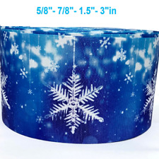"Grosgrain Ribbon 5/8"", 7/8"", 1.5"", 3"" Snowflakes Blue Winter Christmas Printed"