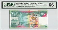 Singapore ND (1989) P-19 PMG Gem UNC 66 EPQ 5 Dollars *A/1 Prefix*