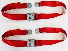 New! Red Seat Belt Deluxe Mustang w/ Running Horse Emblem Logo Pair w/ Bolts