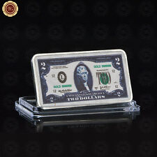 WR US $2 Dollar Banknote Color 24K Silver Bar Collectible In Protective Capsule