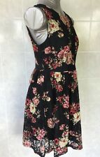 Hot Options Skater Dress - Black Lace with Floral Print, Sleeveless, Size 10
