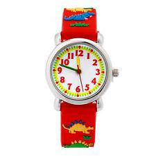 Kids Cartoon Waterproof Silicone Wrist Watch Boy Girls Xmas Gift Dinosaur Red US