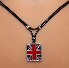 Collier pendentif drapeau anglais cordon noir  - Union Jack  flag necklace