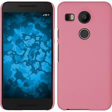 Hardcase for Google Nexus 5X rubberized pink Cover + protective foils