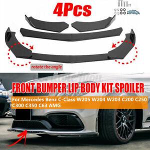 Carbon Look Car Front Bumper Lip Splitter For Benz W204 W205 C63 AMG C200 W212