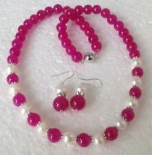 Natural White Cultured Pearl&pink Gemstones Necklace Earrings Set