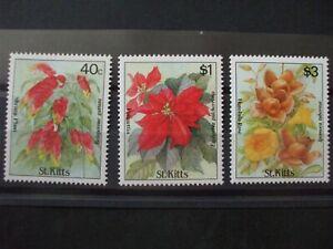 ST KITTS - 1988 Flowers Issue Part Set of 3vs MH Cat 4.05 (1K10)