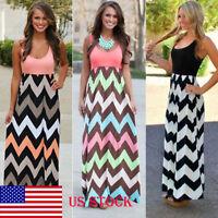 US Womens Striped Sleeveless Long Maxi Boho Beach Dress Tank Top Vest Plus Size