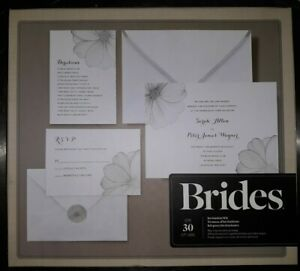 BRIDES Printable Wedding Invitation Kit Silver Flower 30 Count Gartner Studios