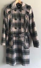 Ladies Wool blend check long coat Next size 12, dusky pink, black
