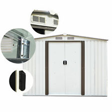 Outdoor 6'x4' Storage Tool Shed Steel House Garden Patio Backyard Lawn White