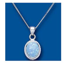 Ópalo Colgante Azul Collar Ovalado Solitario Sólido De Plata Ley