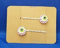 EYEBALL SCARE Halloween - Handmade Bobby PIn Hair clips - Set of 2