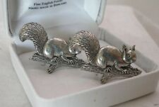 Squirrel Cufflinks in Fine English Pewter, Hadmade in England, gift boxed