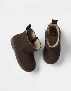GAP Baby / Toddler Boy Size 7 US / 24 EU Brown Sherpa-Lined Boots Booties Shoes