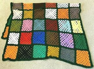 Granny Square Afghan Throw Blanket Crochet  Autumn Fall Jewel Roseanne Couch Lap