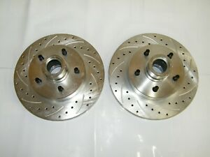"""C10 1973-87 5 Lug Front Disc Brake Drilled & Slotted Rotors 12"""" x 1 1/4"""" Wide"""