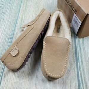 New FIRESIDE by DEARFOAMS sz 8 women's genuine shearling moccasin slippers JH488