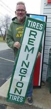 "ORIGINAL REMINGTON TIRES EMBOSSED ADVERTISING SIGN GARAGE GAS OIL 60"" STATION"
