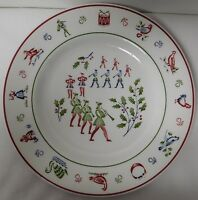 Christmas Carols Theme Tableware 8 12 Wide Johnson Brothers England 12 Days of Christmas Ceramic Salad Plate in 8 Maids a-Milking Series