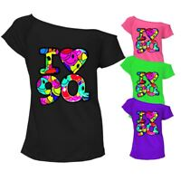 I Love The 90s T Shirt Top Pop Retro 90's Music Ladies Off Shoulder Tee 6684