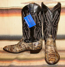 Panhandle Slim Gray Lizard / Black Leather Cowboy Boots 8.5 D / Womens 10 M New