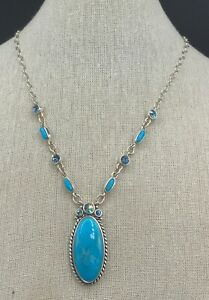 Barse Glisten Necklace- Turquoise & Crystal- Sterling Silver- NWT