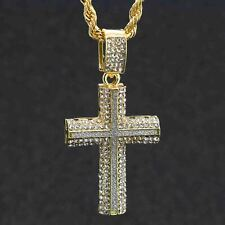 """14k Gold PT Two Cross Dome Fully Cz Stardust Pendant Hip Hop Rope Chain 24"""" 4mm"""