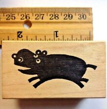 Happy Hippo Rubber Stamp  Hippopotamus Fly Silhouette Animal  Soul  Rare Retired
