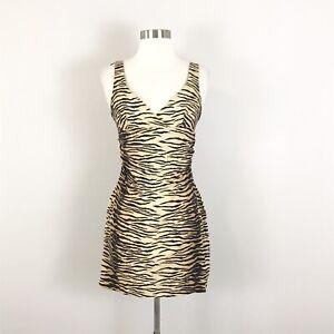 Nicole Miller Vintage size 4 Mini Dress Animal Tiger Print Brown